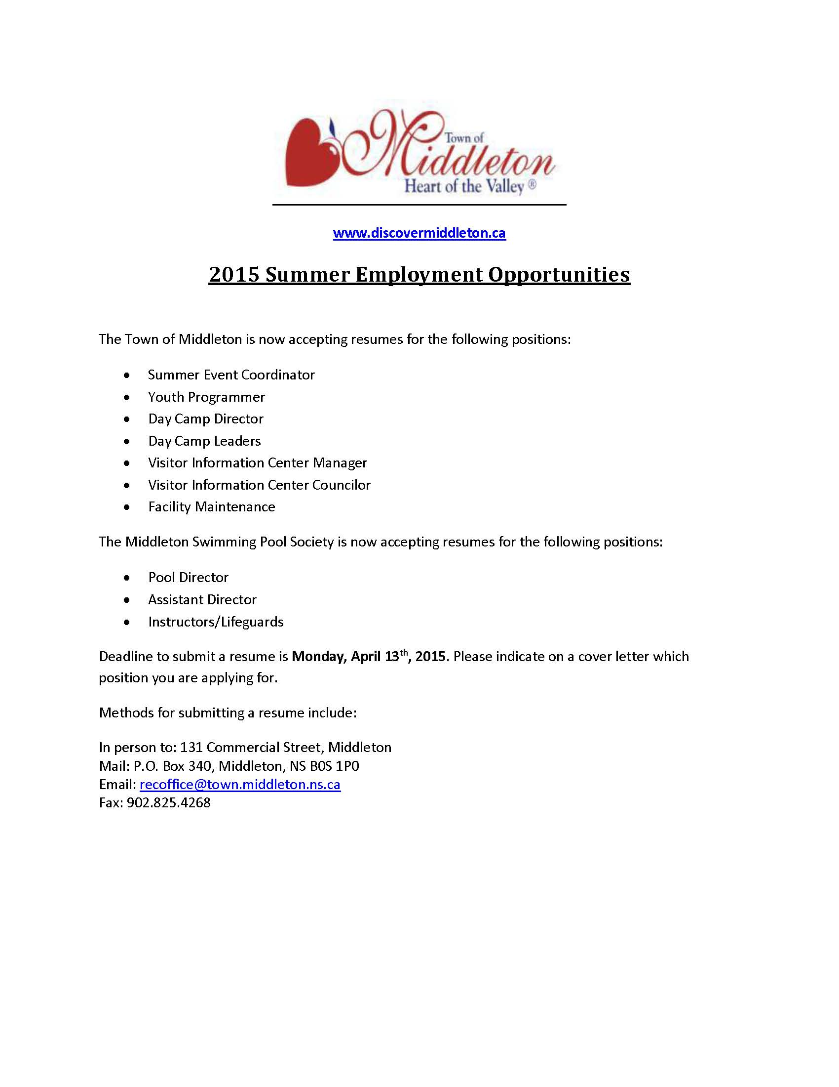 2015 Summer Employment Ad