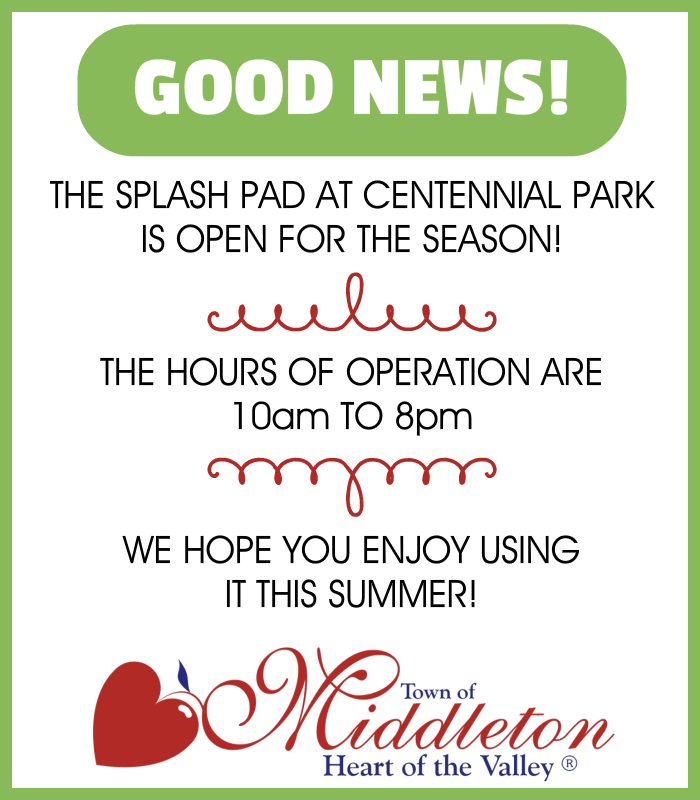 MIDDLETON SPLASH PAD IS OPEN 2016